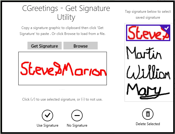 Manage Signature screen